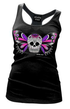 Women's Butterfly Sugar Skull Tattoo Tank by Pinky Star