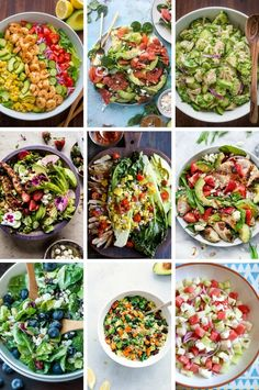 Healthy salad recipes including spinach salads, chicken and goat cheese salads and broccoli salads.