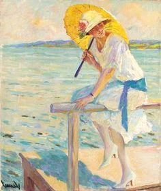 American Impressionist Painter - Edward Cucuel (1875-1954) Yellow parasol