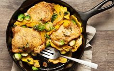 One-Pan Chicken Thighs and Fall Vegetables  Brussels sprouts and squash are two vegetables we can't get enough of in November, but that doesn't mean you have to stick with them for this recipe. Use potatoes and shallots one night, mushrooms and kale the next. Whatever veg you pick, just be sure to turn the heat up–it's what gives them that deep, caramel flavor.