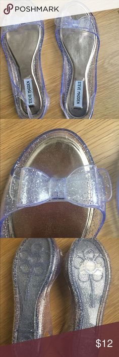 Steve Madden jellies! Clear sparkly jelly shoes with bows. Never worn, new. Steve Madden Shoes Sandals