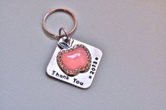 Personalized  teacher gift, pink apple charm hand stamped keychain via Etsy