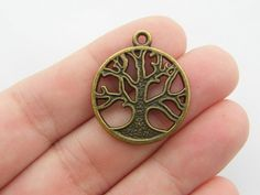 6 Tree charms antique bronze tone BC126 by nicoledebruin on Etsy