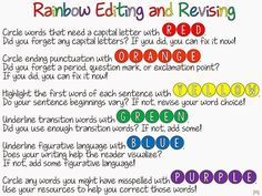 Freebie Rainbow Editing and Revising Activity with Ideas by Jivey.