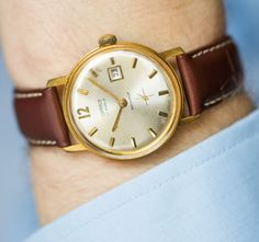 Classic gold plated men's watch CORNAVIN mens by SovietEra on Etsy