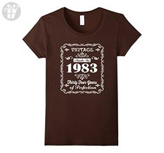 Womens 34th birthday Gift Idea 34 Year Old Boy Girl Shirt 1983 Large Brown - Birthday shirts (*Amazon Partner-Link)