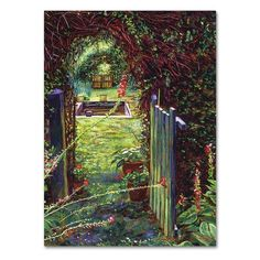 """Trademark Art """"Wicket Garden Gate"""" by David Lloyd Glover Painting Print on Wrapped Canvas Size: 32"""" H x 24"""" W x 2"""" D"""