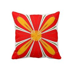 Bright Red Flower American MoJo Pillows