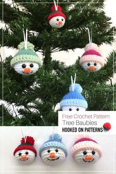 Crochet some FREE adorable Snowman baubles for your Christmas tree, or as little festive gifts! This free crochet pattern is ideal to work up on the side, so that by Christmas you have loads to share! Crochet Snowman, Crochet Christmas Ornaments, Christmas Snowman, Handmade Christmas, Crochet Crafts, Fabric Crafts, Free Crochet, Crochet Ideas, Diy Crafts