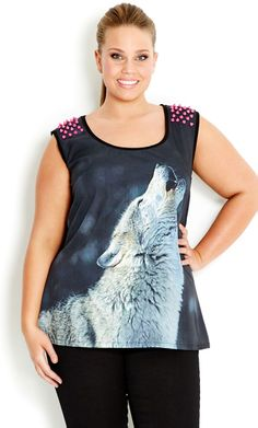 Plus Size Wolf Stud Grafitti Top Plus Size Fashion For Women, Plus Size Women, City Chic Online, Full Figure Fashion, Party Tops, Work Tops, Plus Size Tops, Fashion Outfits, Womens Fashion