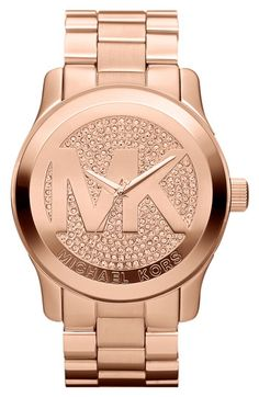 Michael Kors 'Runway' Logo Dial Bracelet Watch available at #Nordstrom....I want it NOW