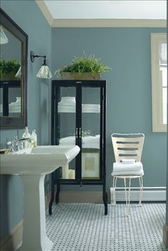 Look at the paint color combination I created with Benjamin Moore. Via @benjamin_moore. Wall: Aegean Teal 2136-40; Trim: Salisbury Green HC-139; Chair: Sweet Spring 1500.