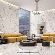 Hazlo con Cerámicos (@hazloconceramicos) • Fotos y videos de Instagram Marble Porcelain Tile, Unique Tile, Dramatic Effect, Gold Marble, Grey And Gold, Ceiling Lights, Flooring, Instagram, Wall