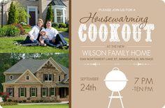Brown Backyard Cookout Housewarming Invite by PurpleTrail.com
