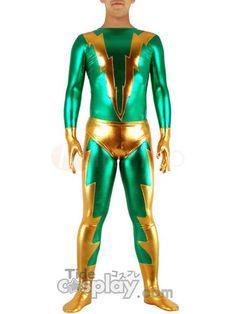 Green & Golden Shiny Metallic Zentai Suit