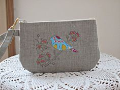 Mixed Media Hand-stamped Applique Embroidered Linen Wristlet  Clutch Zipper Gadget Pouch Bird in Blossoms  Made in USA. $13.99, via Etsy.