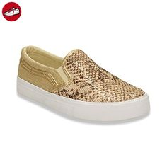 Damen Sneaker Sportschuhe Slipper Lauf Glitzer Freizeit Fitness Low Schuhe Gold EU 36 (*Partner-Link)