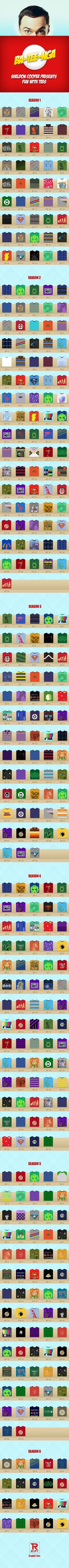 This fun little infographic lists every t-shirt Sheldon Cooper has ever wore on The Big Bang Theory.