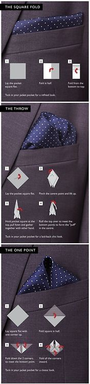 Always wondered how to fold a pocket square for a tuxedo? You know… one of those handkerchief looking things that men put on the front pocket of their tuxedos? Well here is a visual guide for that! The Square Fold Lay the pocket square flat. Fold in hal Sharp Dressed Man, Well Dressed Men, Style Gentleman, Style Masculin, Business Mode, Mens Fashion, Fashion Outfits, Fashion Ideas, Hijab Fashion