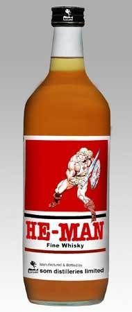 He-man brand Fine Whisky: Mattel is expanding its product range...only in India, oddly enough. Well, maybe this isnt officially sanctioned.