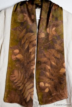 Eco printed silk scarf with sumac leaves, onion skin dye, modified with iron. DianeGamm on Etsy