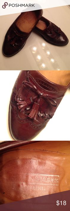 Men's Johnston & Murphy Wing Tip Loafer's Tassels on the ties and beautiful wingtip designs.  These shoes have been wore; but still have lots of life left.  These are for the man that likes to look sharp with his shoes. Johnston & Murphy Shoes Loafers & Slip-Ons