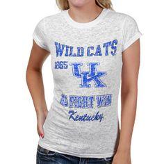 Kentucky Wildcats Ladies White Burnout T-shirt
