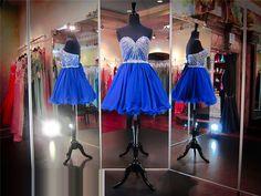 Royal Blue Beaded Embellished Sweetheart Short Tulle Homecoming