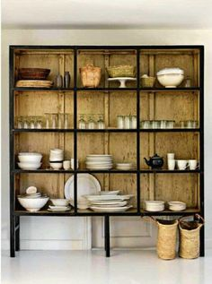 vintage cupboard with black accent