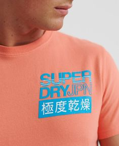Shop Superdry Mens Japan T-Shirt in Desert Pink. Buy now with free delivery from the Official Superdry Store. Superdry Style, Superdry Mens, Man Japan, Japan Logo, Japanese Characters, Leather Skin, Boys Shirts, Fabric Material, Hoodies