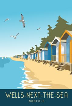 Wells-next-to-Sea seaside Beach Huts. Available from www.whiteonesugar.co.uk…