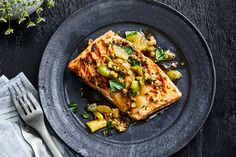 This Grilled King Salmon with Meyer Lemon Relish recipe gets its flavor from shallots, capers, and Castelvetrano olives. Get the recipe from Food & Wine. Relish Recipes, Wine Recipes, Seafood Recipes, Tilapia Recipes, Soup Recipes, Grilled Lamb, Grilled Salmon, Grilled Fish, Gourmet
