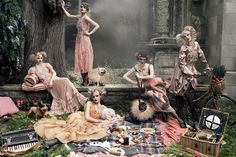 """Paris, Je t'aime""   Models: Coco Rocha, Agyness Deyn, Sasha Pivovarova, Guinevere van Seenus, Caroline   Trentini, Gemma Ward, Photographer: Steven Meisel, Vogue US, September 2007"