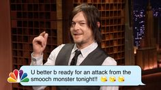 The Walking Dead Star Norman Reedus (Daryl Dixon) Reads Romantic Text Messages on 'The Tonight Show'