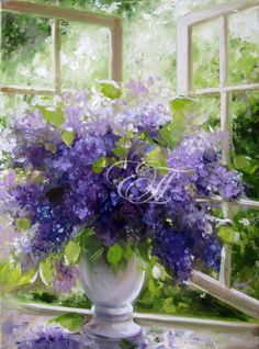 Elena Perminova Lilac – elena perminova – Join in the world of pin Lilac Painting, Oil Painting Flowers, Watercolor Flowers, Watercolor Art, Flower Vases, Flower Art, Flower Arrangements, Acrylic Flowers, Arte Floral
