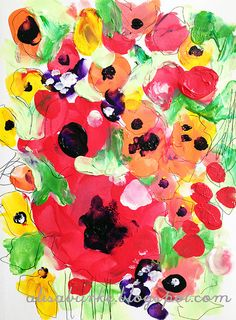 finger painting fields of poppies. looks easy and a fun and cheap way to add some color to some walls if framed :)