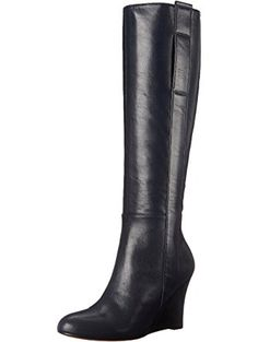 Nine West Women's Oran Leather Knee High Boot, Navy, 6.5 M US ❤ Nine West