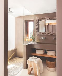 Home Interior 2019 .Home Interior 2019 Earthy Bathroom, Small Bathroom, Boho Bathroom, Modern Bathroom, Master Bathroom, Natural Bathroom, Bathroom Taps, Design Rustique, Appartement Design