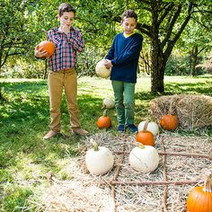 Party Activity: Pumpkin Tic-Tac-Toe...make it table with little pumpkins, place sticks and pumpkins/gourds in a basket