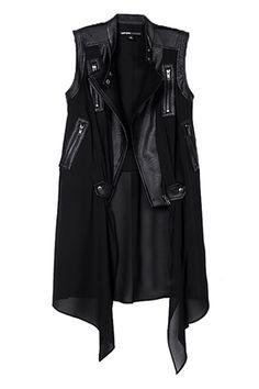 ROMWE | Dual-tone Zippered Sleeveless Vest, The Latest Street Fashion
