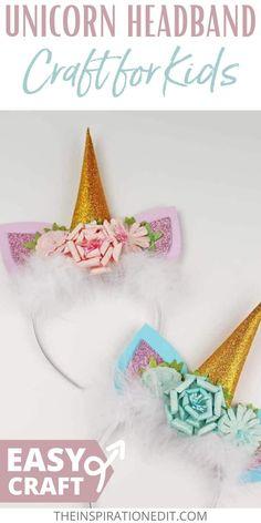 Your kids will surely love this Unicorn Craft. This Unicorn Headband super cute, plus it is fun and easy to make. #unicornheadband #unicornheadbanddiy #unicornheadbandkids Cute Kids Crafts, Summer Crafts For Kids, Diy Projects For Kids, Easy Crafts For Kids, Craft Activities For Kids, Creative Crafts, Activity Ideas, Craft Ideas, Diy Unicorn Headband
