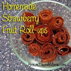 Homemade Fruit Leather aka Fruit Roll-ups Healthy Fruit Desserts, Fruit Drinks, Healthy Fruits, Healthy Snacks, Healthy Eating, Healthy Recipes, Strawberry Pancake Syrup, Strawberry Jam, Strawberry Fruit Leather