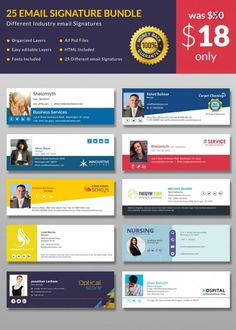 If you're in search of free email signature templates that don't require any HTML coding, you might be in the best place. Test our wealthy template library! Free Email Signature Templates, Html Email Signature, Create Email Template, Html Email Templates, Web Design, Email Design, Graphic Design, Book Design, Flyer Design