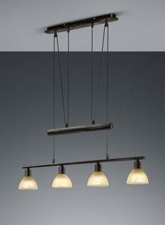 LEVISTO Trio - závesné svetlo LED/E14 - hrdza+jantár - 805mm