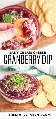 This easy Cranberry Cream Cheese Dip is one of my favorites. It's one of the easiest dip recipes ever which makes it perfect for the busy holiday season! Just a few simple ingredients! Great for Christmas appetizers!