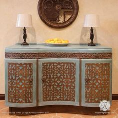 Use furniture stencils to decorate your painted furniture with classic trellis patterns. These trendy designer stencils for dressers and tables are a must have!