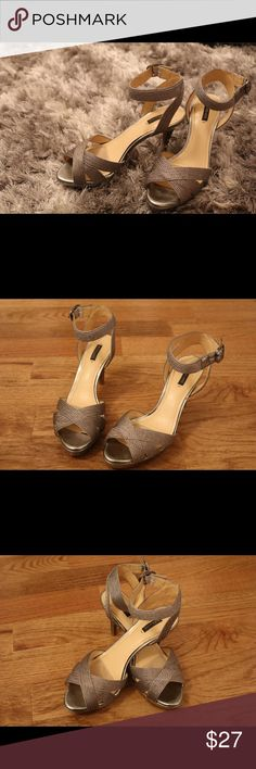 Great barely used silver heels!!!! These heels are in amazing condition. They have a few scratches on their heels, but they were only worn twice! I used these shoes at my brothers wedding and now they need someone to love them. Alex Marie Shoes Heels