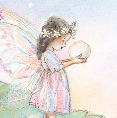 Dark Haired Fairy with dew drop / Artist: Becky Kelly