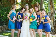 Mismatched Bridesmaid Dresses....I really don't think it will matter what blue she gets.