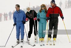 February 17, 1987: Prince Charles, Princess Diana, The Duchess Of York (sarah Ferguson) And The Duke Of York (prince Andrew) On Holiday In Klosters.